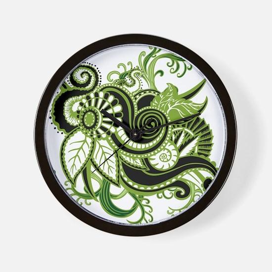 OYOOS Green Flower design Wall Clock