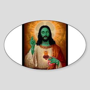 Zombie Jesus Loves Brains Sticker (Oval)