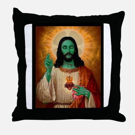 Zombie Jesus Loves Brains Throw Pillow