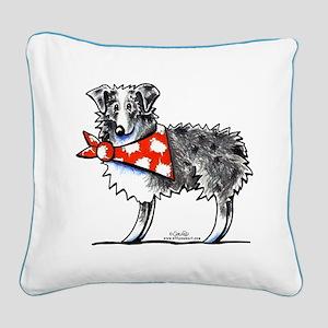 Blue Merle Aussie Square Canvas Pillow