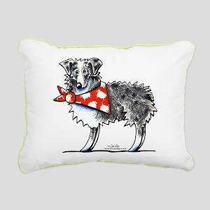 Blue Merle Aussie Rectangular Canvas Pillow