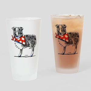 Blue Merle Aussie Drinking Glass
