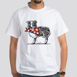 Blue Merle Aussie White T-Shirt