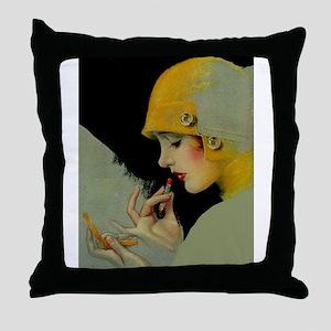 Art Deco Flapper Putting on Lipstick Throw Pillow