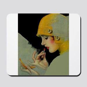Art Deco Flapper Putting on Lipstick Mousepad