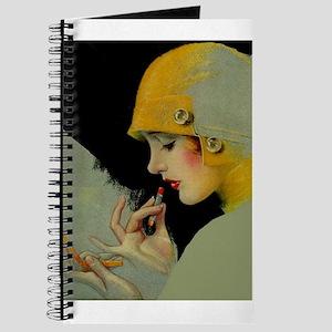 Art Deco Flapper Putting on Lipstick Journal