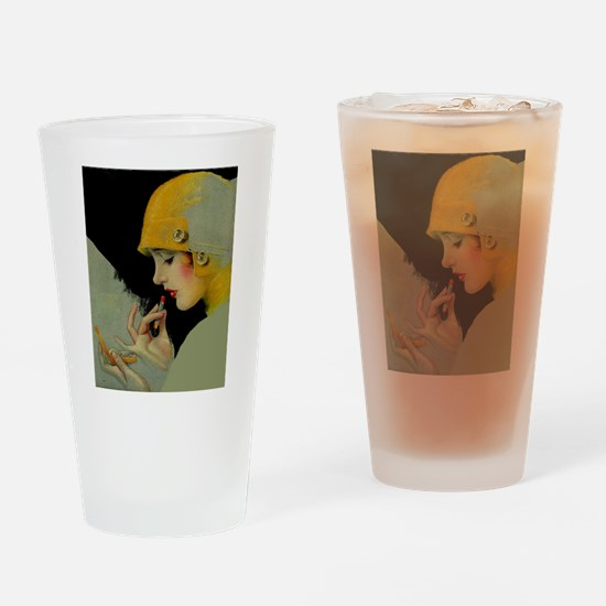Art Deco Flapper Putting on Lipstick Drinking Glas