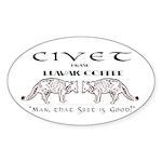Civet Brand Luwak Coffee Sticker (Oval)