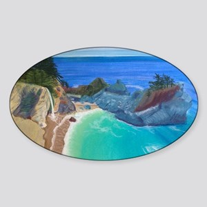 McWay Falls Big Sur Sticker (Oval)