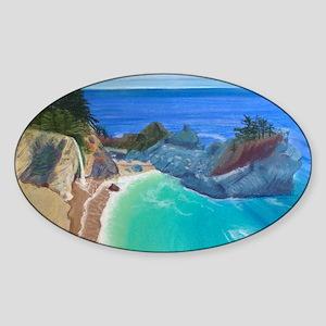 McWay Falls Big Sur Sticker (Oval)