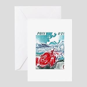 1963 Monaco Grand Prix Postage Stamp Greeting Card
