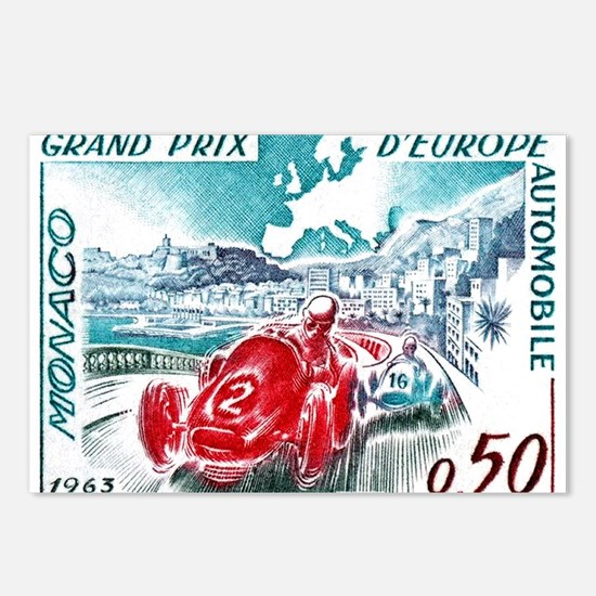 1963 Monaco Grand Prix Postage Stamp Postcards (Pa