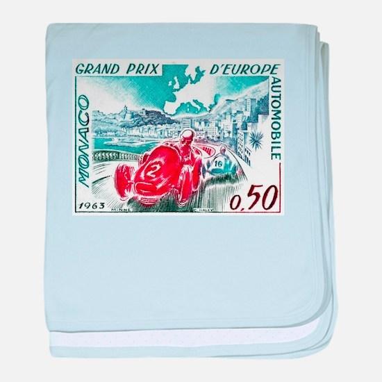 1963 Monaco Grand Prix Postage Stamp baby blanket