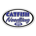 Catfish Noodling Oval Sticker