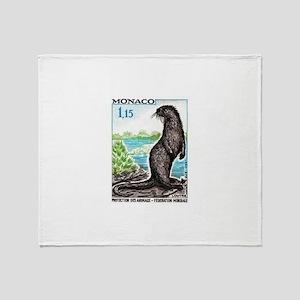 1970 Monaco Otter Postage Stamp Throw Blanket