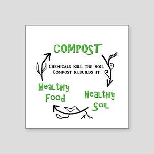 "Compost rebuilds the soil Square Sticker 3"" x 3"""