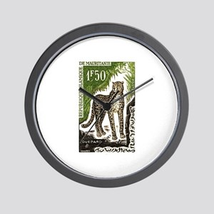 1963 Mauritania Cheetah Postage Stamp Wall Clock