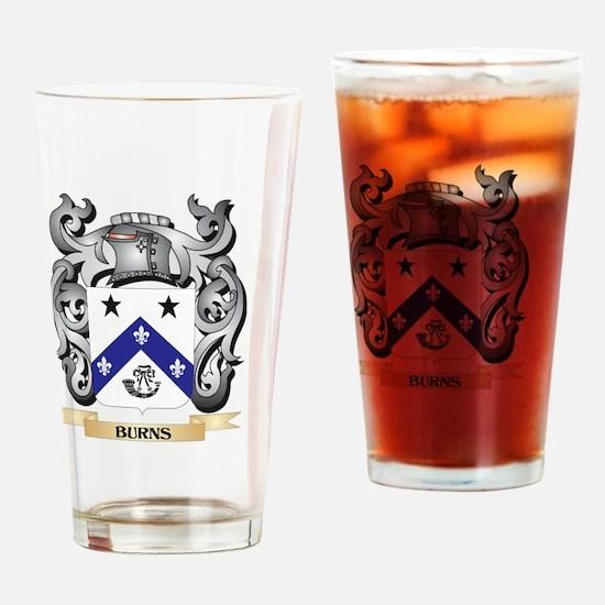 Burns Family Crest - Burns Coat of Drinking Glass