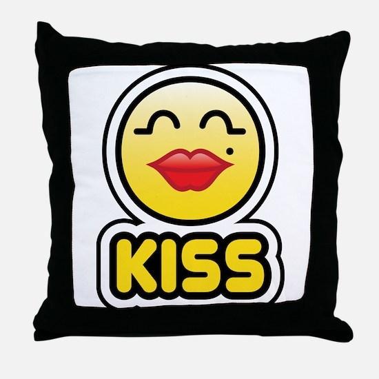 kiss bbm smiley Throw Pillow