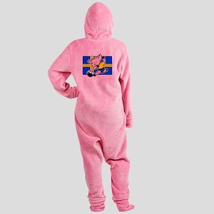 sweden-soccer-pig Footed Pajamas