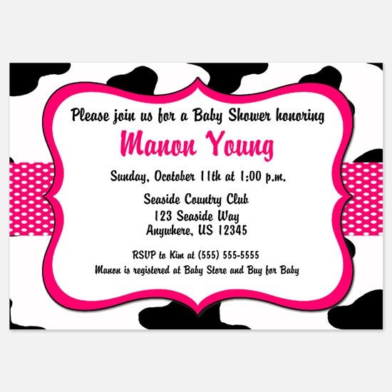 Cow Print Pink Baby Shower Invite Invitations
