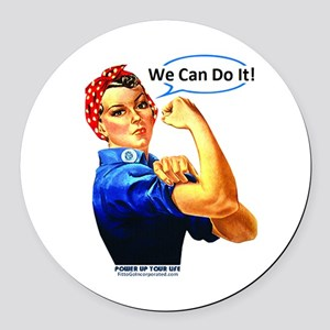 We Can Do It! Round Car Magnet