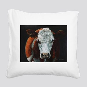 Hereford Cattle Square Canvas Pillow