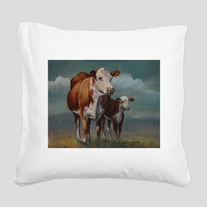 Hereford Cow and Calf in Pasture Square Canvas Pil