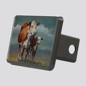 Hereford Cow and Calf in Pasture Rectangular Hitch