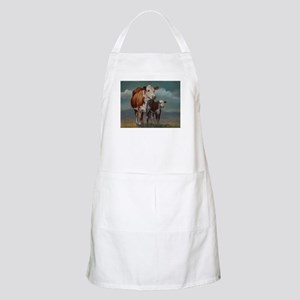 Hereford Cow and Calf in Pasture Apron