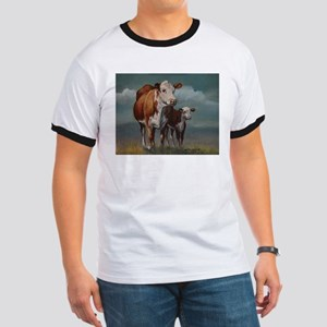 Hereford Cow and Calf in Pasture Ringer T