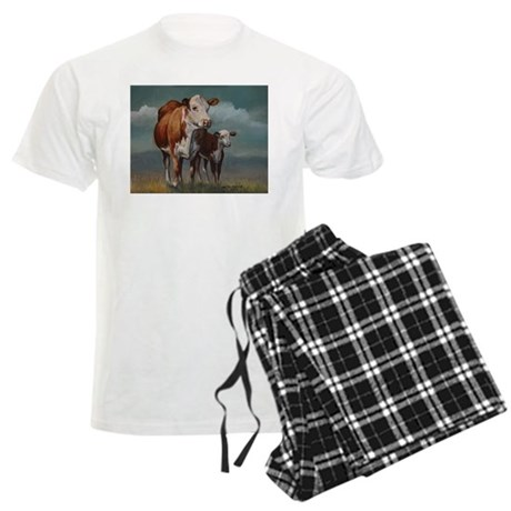 Hereford Cow and Calf in Pasture Men's Light Pajam