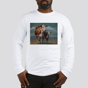 Hereford Cow and Calf in Pasture Long Sleeve T-Shi