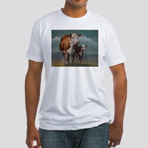 Hereford Cow and Calf in Pasture Fitted T-Shirt