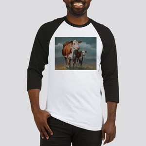 Hereford Cow and Calf in Pasture Baseball Jersey