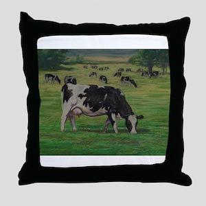 Holstein Milk Cow in Pasture Throw Pillow