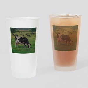 Holstein Milk Cow in Pasture Drinking Glass