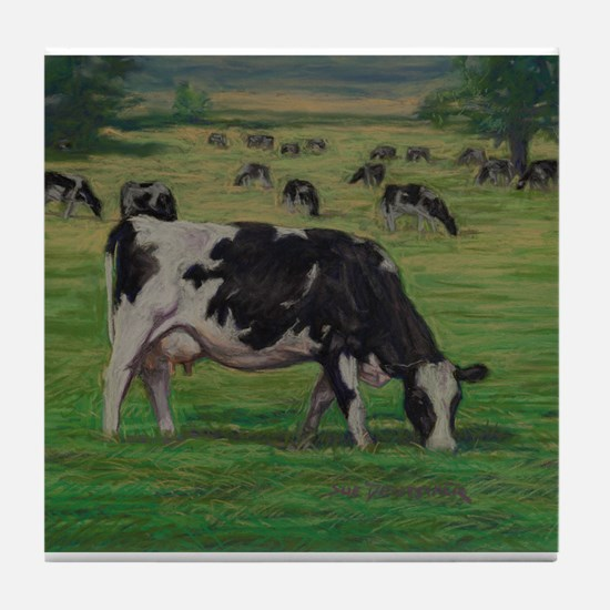 Holstein Milk Cow in Pasture Tile Coaster