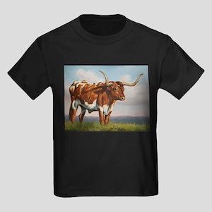 Texas Longhorn Steer Kids Dark T-Shirt