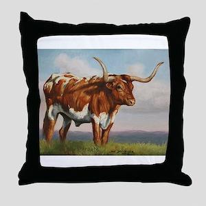 Texas Longhorn Steer Throw Pillow