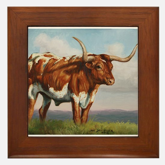 Texas Longhorn Steer Framed Tile