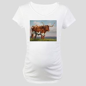 Texas Longhorn Steer Maternity T-Shirt