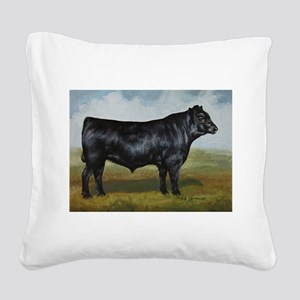 Black Angus Square Canvas Pillow