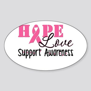 Hope Love Support Awareness Sticker (Oval)