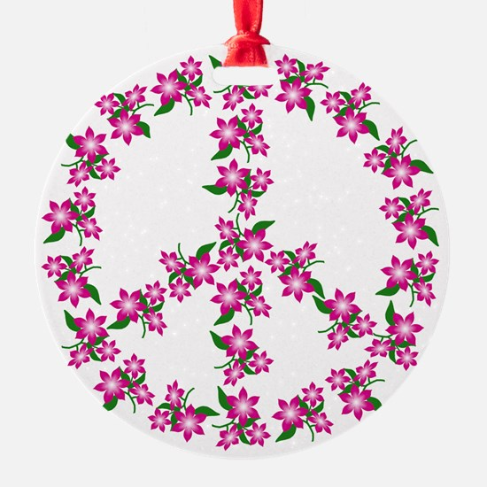 Pink Peace Sign Ornament / Ceramic 2 SIDES