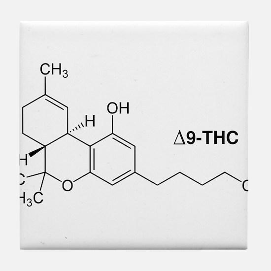 Delta 9 THC Molecule Tile Coaster