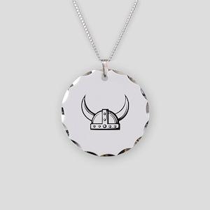 Viking Helmet Necklace Circle Charm