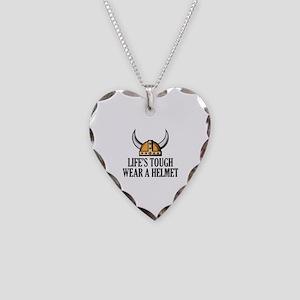 Wear A Helmet Necklace Heart Charm