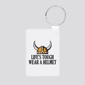 Wear A Helmet Aluminum Photo Keychain