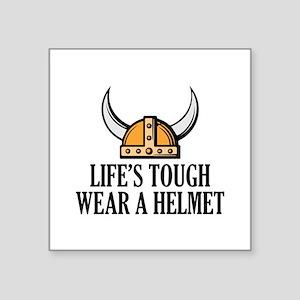 "Wear A Helmet Square Sticker 3"" x 3"""